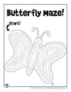 Butterfly Spring Maze Kids Activity Page - KEY