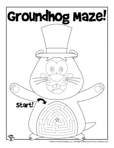 Groundhog Spring Maze Activity Page