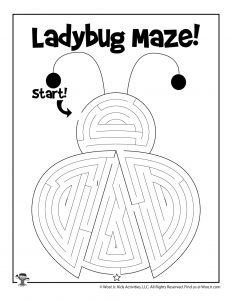 Spring Ladybug Printable Maze for Kids