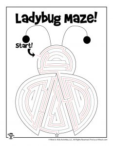 Spring Ladybug Printable Maze for Kids - KEY