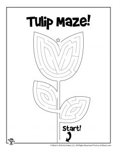 Spring Tulip Maze Activity Page for Kids