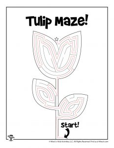 Spring Tulip Maze Activity Page for Kids - KEY
