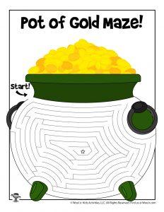 Printable Pot of Gold St. Patrick's Maze