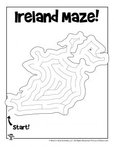 Printable Maze of Ireland for St. Patrick's Day