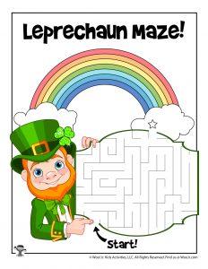 St. Patrick's Leprechaun Maze Activity Sheet