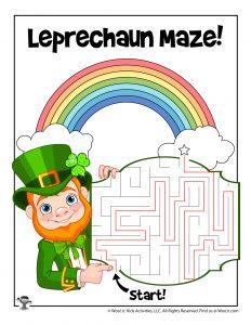 St. Patrick's Leprechaun Maze Activity Sheet - KEY