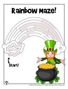 Rainbow Pot o' Gold St. Patrick's Maze Puzzle - ANSWER