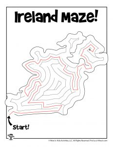 Printable Maze of Ireland for St. Patrick's Day - KEY
