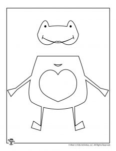 Big Hearted Frog Valentine Coloring Craft Puppet