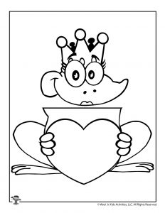Valentine's Day Frog Queen Coloring Craft Puppet