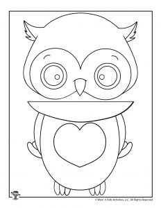 Valentine Owl Puppet Coloring Paper Bag Craft