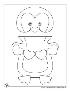 Penguin Puppet Valentine's Day Coloring Craft