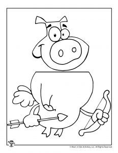 Valentine Pig Cupid Coloring Sheet Craft Puppet