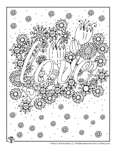 Love Flowers Valentine's Day Adult Coloring Sheet
