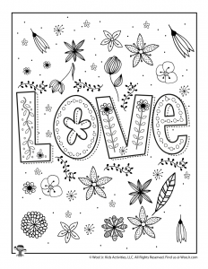 Valentine's Love Adult Coloring Freebie