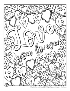 Love You Forever Valentine's Coloring Page