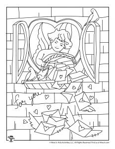 Cupid Valentine Adult Coloring Page