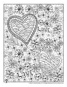 Love & Hearts Valentine's Day Adult Coloring Printable