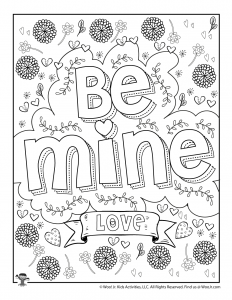 Be Mine Valentine Free Coloring Page