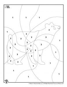 Polar Bear Color by Number Coloring Sheet