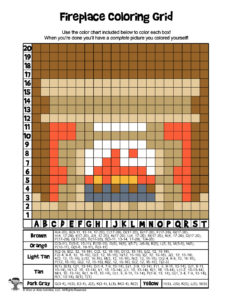 Fireplace Winter Coloring Grid - ANSWER KEY