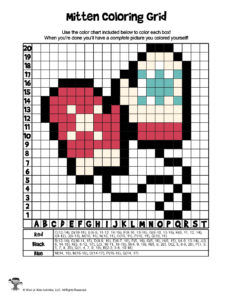 Winter Mittens Pixel Art Coloring Page - ANSWER KEY