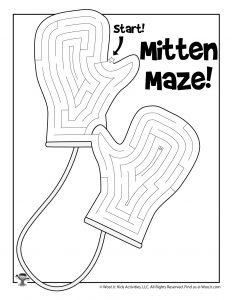 Warm Woolen Mittens Printable Maze