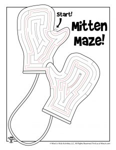 Warm Woolen Mittens Printable Maze - KEY