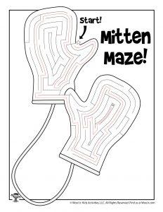 Warm Woolen Mittens Printable Maze - KEY