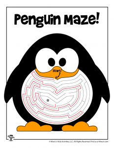 Penguin Winter Maze for Kids - ANSWER KEY