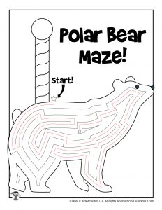 North Pole Polar Bear Winter Maze - ANSWER KEY