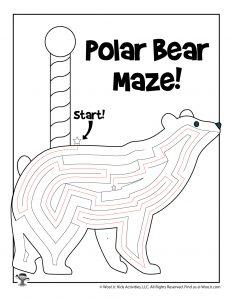 North Pole Polar Bear Winter Maze - ANSWER KEY
