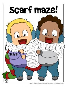 Friends Winter Scarf Maze for Kids