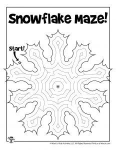 Winter Snowflake Printable Maze for Kids