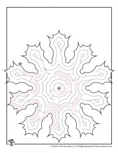 Winter Snowflake Printable Maze for Kids - KEY