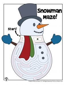 Frosty Snowman Labyrinth Maze - ANSWER KEY