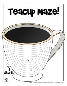 Winter Teacup Maze Activity Page for Kids
