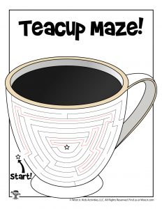 Winter Teacup Maze Activity Page for Kids - KEY
