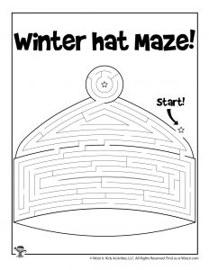 Winter Hat Maze Puzzle for Kids