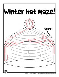 Winter Hat Maze Puzzle for Kids - KEY