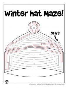 Winter Hat Maze Puzzle for Kids - KEY