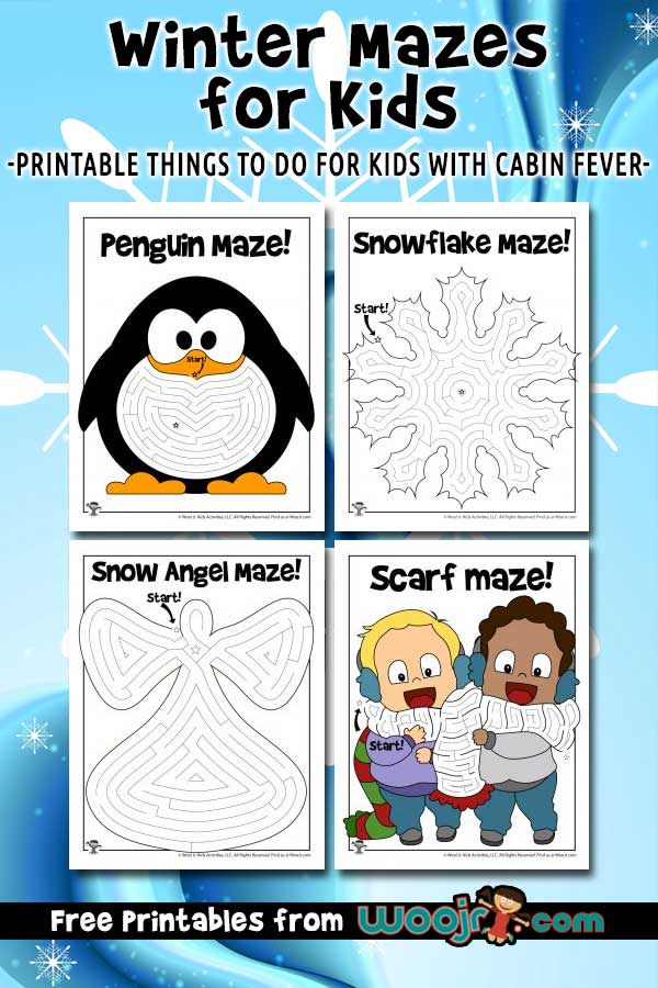 Printable Winter Mazes for Kids