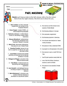 Women in History Fact Matching Activity Worksheet