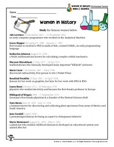 Women in History Study Worksheet