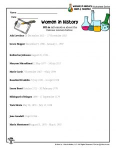 Women in History Quiz Fill-in Worksheet