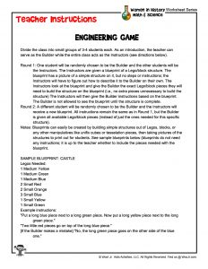 STEM Women in History Engineering Game – Teacher Instructions