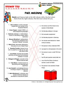 Women in History Fact Matching Activity Worksheet – KEY