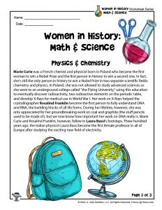 STEM Women in History Physics & Chemistry Printable Lesson