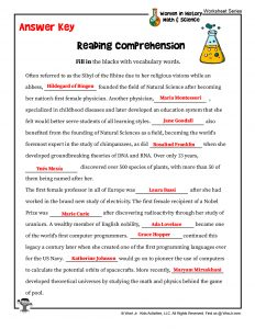 STEM Women History Reaching Comprehension Worksheet – KEY