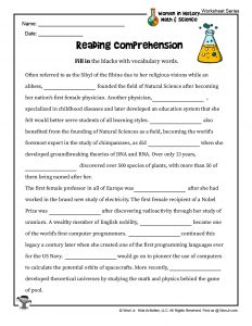 STEM Women History Reaching Comprehension Worksheet
